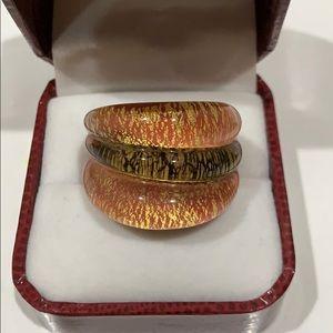 New Murano Glass Ring 24kt Gold Sz 7
